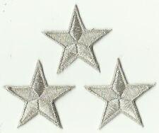 LOT 3 ECUSSON PATCH THERMOCOLLANT ETOILE ARGENT 4,5 X 4,5 CMS SILVER STAR