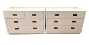 Henredon Midcentury Mod Newly Lacquered White Cabinets Dressers Chest Drawers