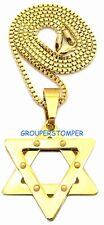 Star Of David Necklace Stainless Steel New Pendant with 24 Inch Box Link Chain