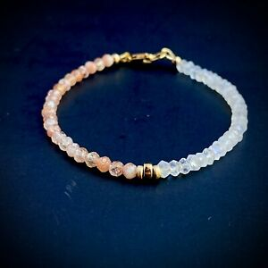 Moonstone Sunstone Bracelet In 14k Gold Beaded Dainty Faceted Natural Gem Stone