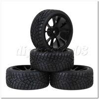 4 x Schwarz 1:10 RC On-Road Car 10 Spoke Alufelgen Rubber Tire Sets