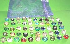 Murano Glas Beads, 50 Stück, 925 Silber Hülse, gestempelt
