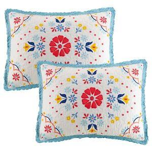 Pioneer Woman Mazie Medallion 2-Pcs Standard Quilted Pillow Shams Set Farmhouse