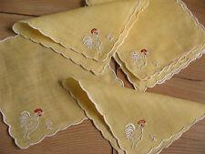 6 antike Leinen Servietten und 6 Glasmanschetten Ostern Hahn