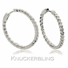 Snap Closure Hoop White Gold 18 Carat Fine Earrings