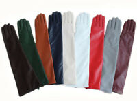 "women 47cm(18.5"")classic plain style warm long leather gloves(multi colors)"