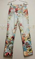 Roberto Cavalli Womens Floral Print Stretch Denim Jeans Size S w/ chain reg$650