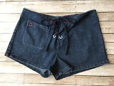 Tommy Hilfiger Jeans Tommy Girls Junior Dark Wash Denim Lace Up Shorts Size 5