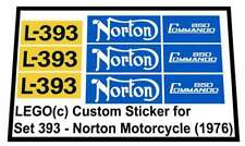 Precut Replica Sticker voor Lego Set 393 - Norton Motorcycle (1976)