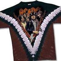 AC DC-HIGHWAY TO HELL-2 SIDED-V TIE DYE TSHIRT XL Vintage RARE & Very Limited