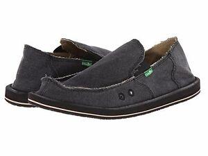 Men's Shoes Sanuk VAGABOND Slip On Canvas Sidewalk Surfers SMF1001 CHARCOAL