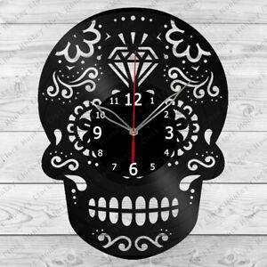 Vinyl Clock Skull Vinyl Record Wall Clock Home Art Decor Handmade 168