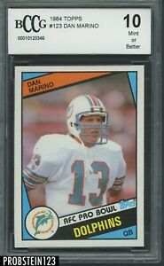 1984 Topps Football #123 Dan Marino Miami Dolphins RC Rookie HOF BCCG 10