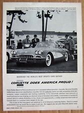MAGAZINE AD ~ 1958 CORVETTE ~ ROAD & TRACK ~ APRIL 1958