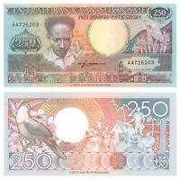 Suriname 250 Gulden 1988 P-134 First Prefix AA Banknotes UNC