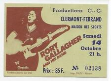 RARE / TICKET BILLET CONCERT - RORY GALLAGHER LIVE A CLERMONT FD ( FRANCE ) 1978