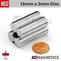 """12 50 100pc 12mm x 2mm 1/2"""" x 1/16"""" N52 Strong Rare Earth Neodymium Magnet Disc"""