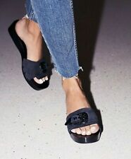 Free People Westtown Clogs Shoes Womens Size 38 Black w/ Metal Buckle New $98