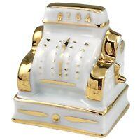 LImoges Porcelain Miniature Cash Register Figurine White Gold France Vtg #284