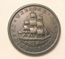 1841 WEBSTER CREDIT CURRENCY HARD TIMES TOKEN