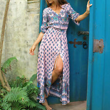 PLUS SIZE Womens V-Neck Boho Evening Party Long Maxi Dress Beach Sundress Summer