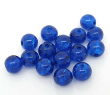 200 Dark Blue Crackle Glass Round Spacer Beads Jewelry Charms Component 6mm Dia.