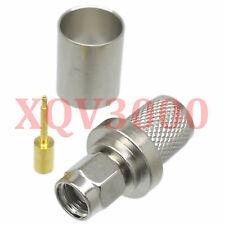 2pcs Connector SMA male plug pin crimp for RG8 LMR400 RG213 RG165 nickel COAXIAL