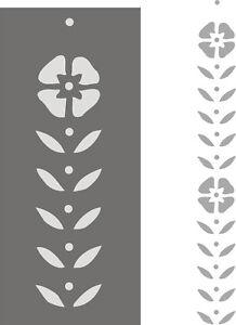Blumendekor Wandschablone Schablone Ranken Malerschablone - Blattranke vertikal