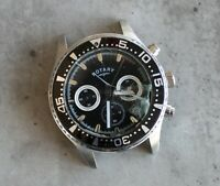 ROTARY CHRONOGRAPH 42mm quartz watch head black dial diver's bezel SPARES