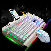 G700 LED Rainbow Color Backlight Gaming Game USB Wired Keyboard Mouse Set Hot