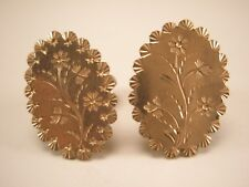 """Gold Tone Floral Vintage Victorian Cuff Links Pat Aug 241880 Marked """"Acme"""""""