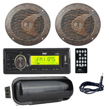 """Pyle PLMR86B Boat Receiver, 6.5"""" 150W Camo/Hunting Style Speakers, Antenna,Cover"""