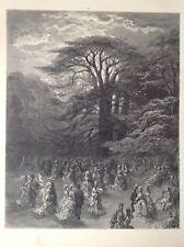 Por Gustave Dore un Chiswick Fete, 1872 impresión Antiguo, Londres, Original, Raro