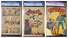 Superman #1, Batman #1 & Superboy #1 - 3 key Golden Age CGC-packaged comics!