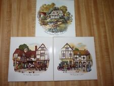 "Lot of three 6"" Tile / Trivet : 2 Sussex English & 1 Currier Ives American"