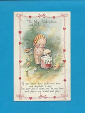 Cute KEWPIE EATS JAM On A/S ROSE O'NEILL Authentic Vintage VALENTINE Postcard