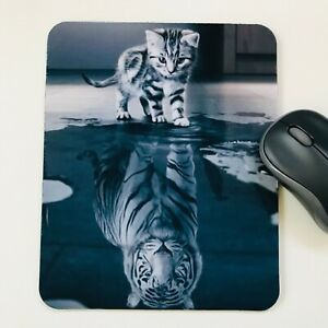 Mouse Mat,Pad Cat Reflection desktop laptop office made in UK 18 x 22 cm