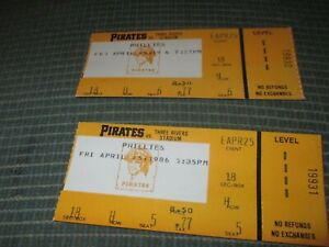 1986 PITTSBURGH PIRATES TICKET STUBS