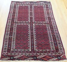 Tribal Antique Turkoman Ensi Hand-Knotted 100% Wool Oriental Rug  4' x 6'