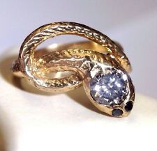 18k Yellow Gold .76CT Diamond Wrap Snake Ring Size 6