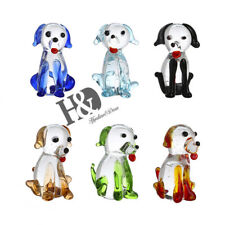 Set 6 Hand Blown Glass Rainbow Cute Dogs Figurine Collection Home Decor Gifts