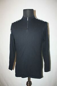 Descente XL Solid Black Bicycle Cycling Jersey 1/4 Zip Shirt Long Sleeve Japan