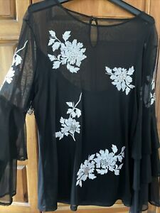 INC International Concepts Black Enbellished layered Bell sleeve Tunic Top XXL