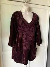 SOFT SURROUNDINGS Embellished  Velvet Tunic Top- Wine -NWT-SZ- M, L, XL