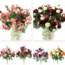 21 Roses Buds Silk Flowers Wedding Bouquets Faux Artificial Wedding Bridal Decor