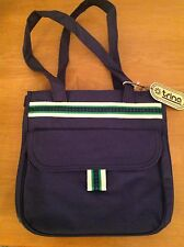 Vintage NWT Trina Inc Canvas Designer Tote Bag Blue Green Early Trina Turk 70's