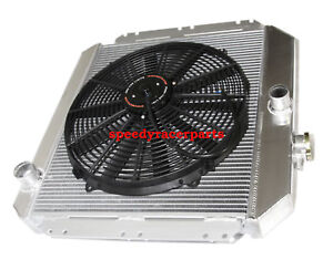 """Fits 49-52 Chevy Styleline V8 MT Aluminum Racing 3 Row Radiator16"""" Fans"""
