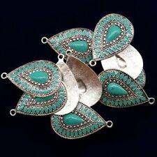 5Pcs Carved Tibetan Silver Blue Turquoise Teardrop Pendant Bead 42x26x3mm LL813