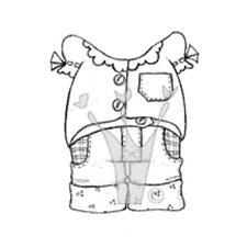 Magnolia EZ Mount Rubber Stamp - Dress Ups Blouse Short Jeans Outfit 0764C