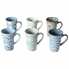 NEW Casa Uno Stoneware Mug, Blue (Set of 6)